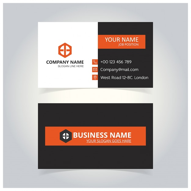 Orange and black business card template vector free download orange and black business card template free vector reheart Images