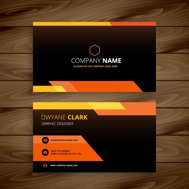 Orange and black business card vector free download orange and black business card free vector reheart Images
