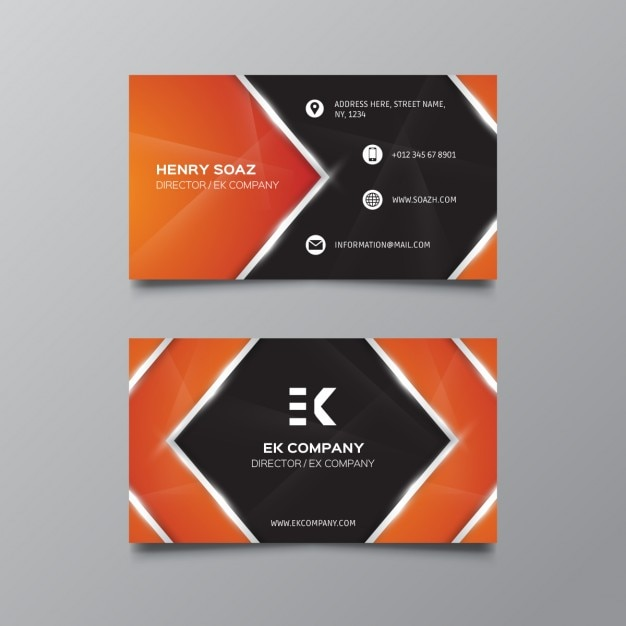 Orange and black business card free vector