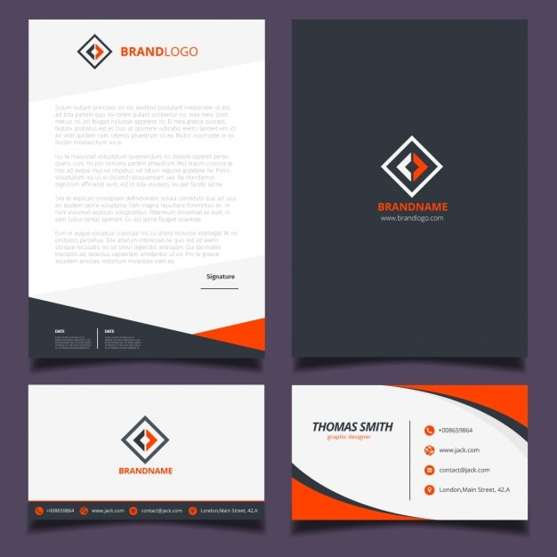 orange and black corporate identity design vector free download