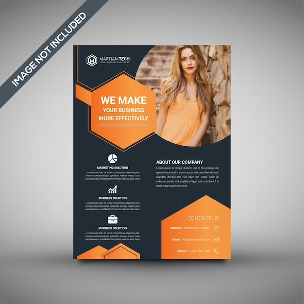 Orange And Black Flyer Template Professional Flyer Template Vector