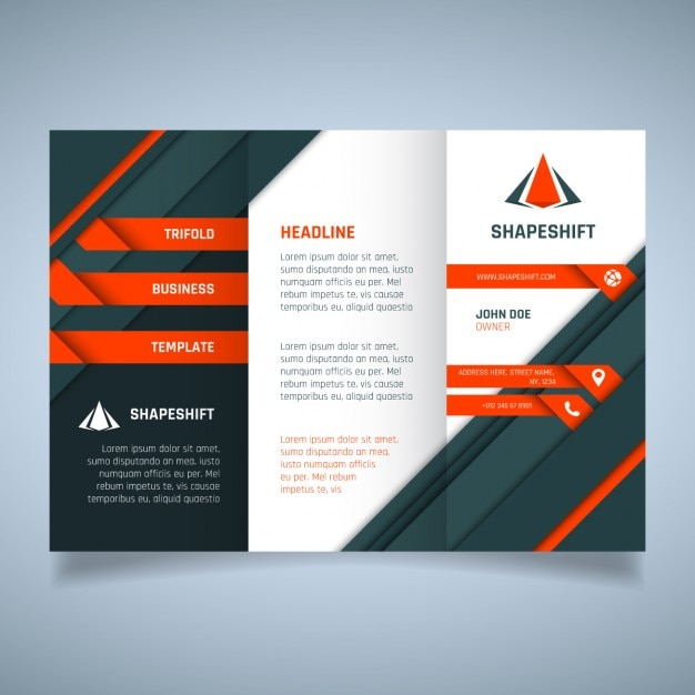 Orange and black geometric business brochure template for Black brochure template