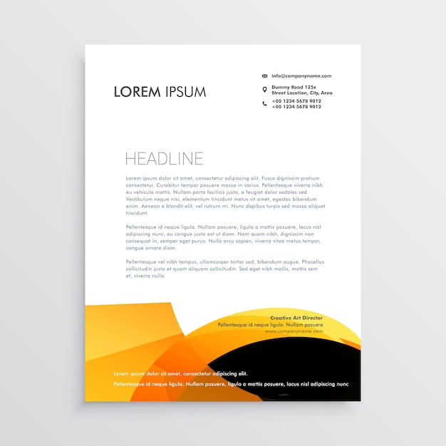 Orange and black modern letterhead design