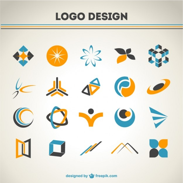 Orange and blue logos set Free Vector