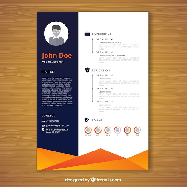 orange and blue resume template vector free download