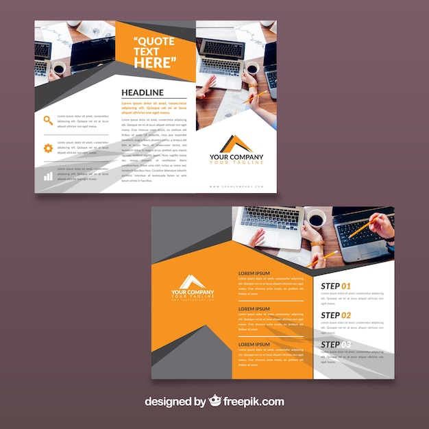 Orange and grey trifold business brochure template vector free orange and grey trifold business brochure template free vector wajeb Choice Image