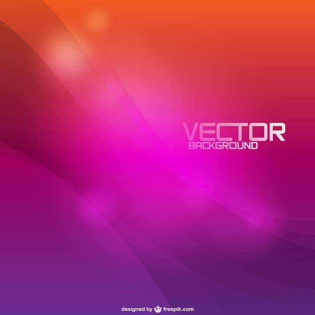 Orange and purple bokeh background with waves Free Vector