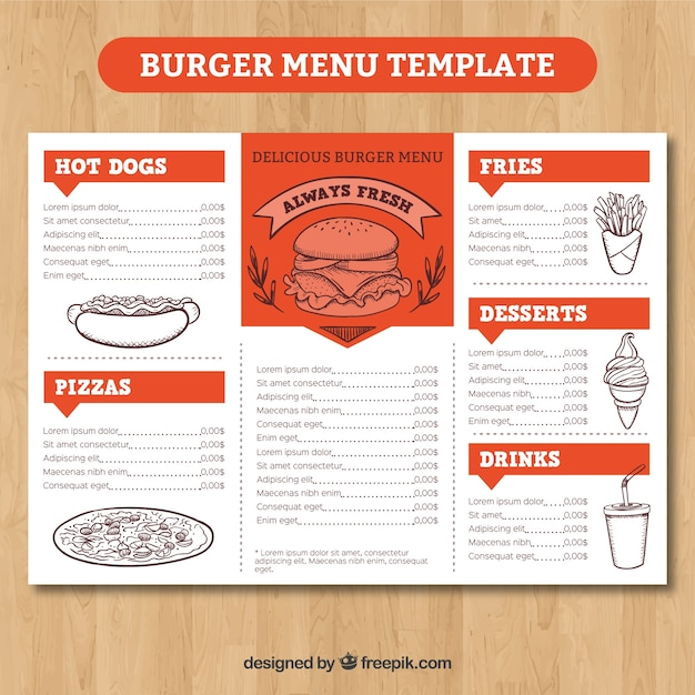 Orange and white burger menu template Free Vector