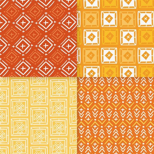 オレンジと黄色のソンケットのシームレスなパターンテンプレート Premiumベクター