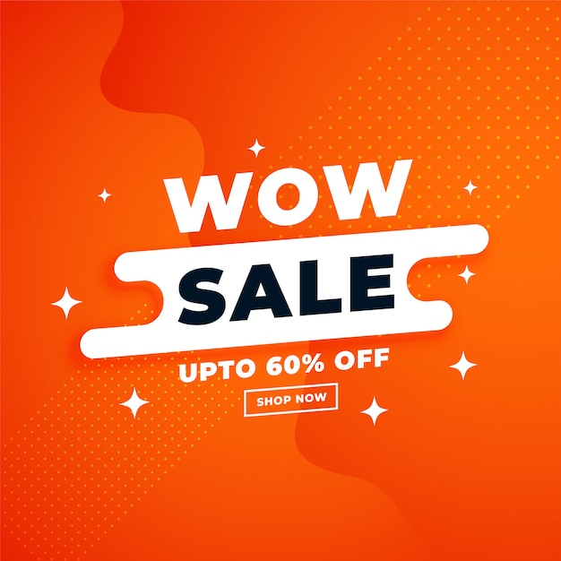 Orange attractive sale banner for online shopping Free Vector
