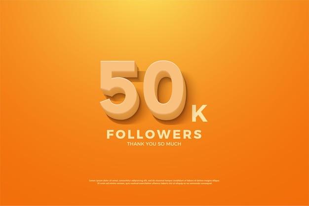 5 만 명의 팔로워를위한 주황색 배경과 숫자 프리미엄 벡터