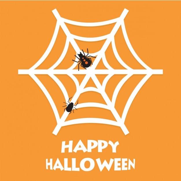 Orange background of cobweb Free Vector