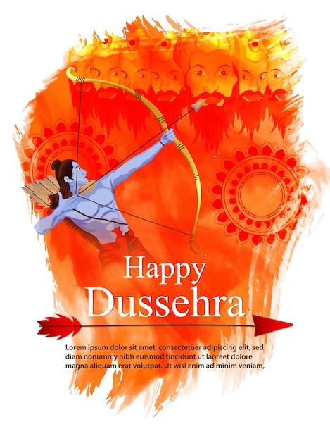 Orange background for dussehra festival Premium Vector