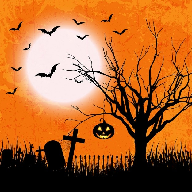 orange background of halloween in grunge style free vector - Halloween Background Images Free