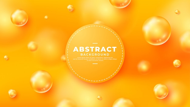 Orange background with beautiful 3d ball beads. Premium Vector