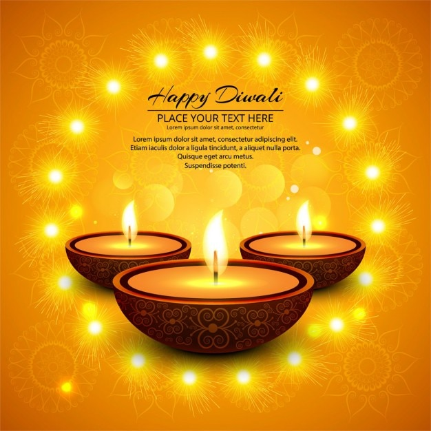 Orange background with candles to celebrate diwali Free Vector