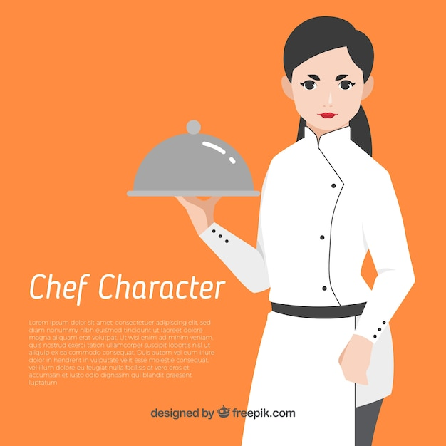 Orange background with cook Free Vector