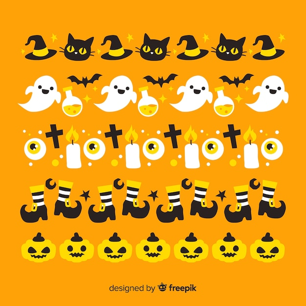 Orange background with halloween border collection Free Vector