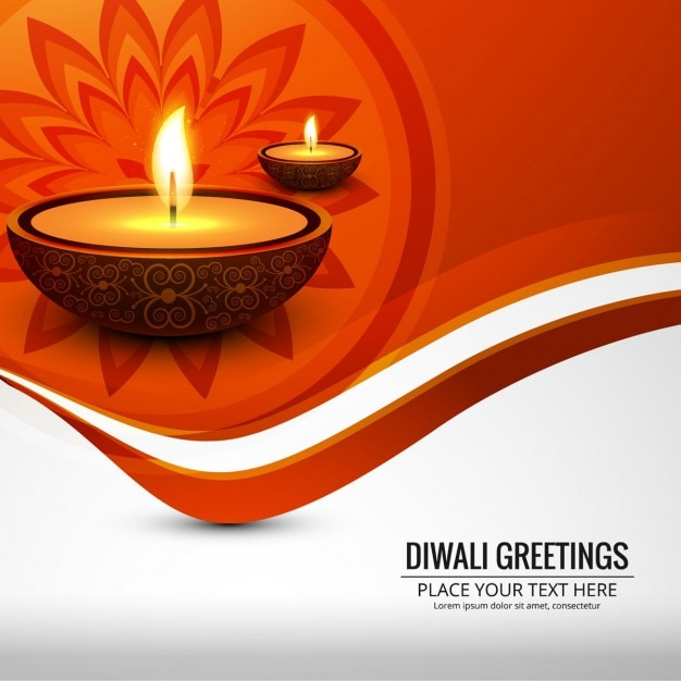 Orange Background With Lights For Diwali Vector Free