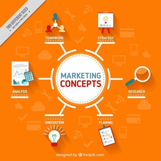 Orange background with marketing concepts Free Vector