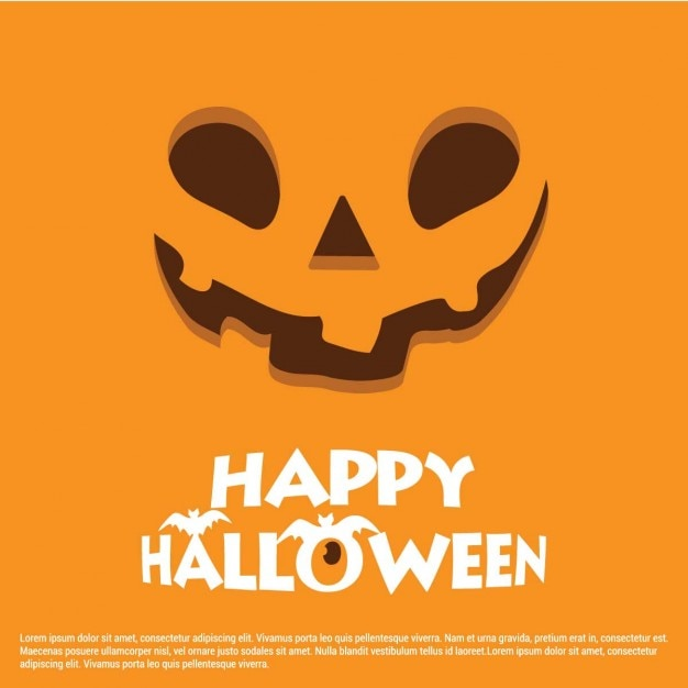 Orange background with pumpkin face Free Vector