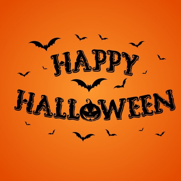 Orange background with pumpkins and bats for halloween Free Vector