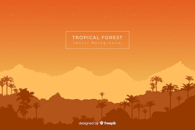 Orange background with tropical forest silhouettes Free Vector