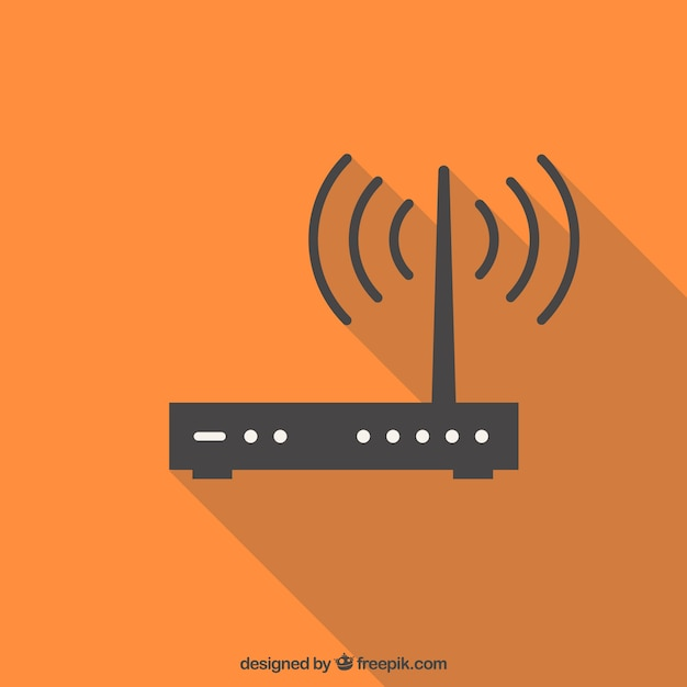 Orange background with wifi Free Vector
