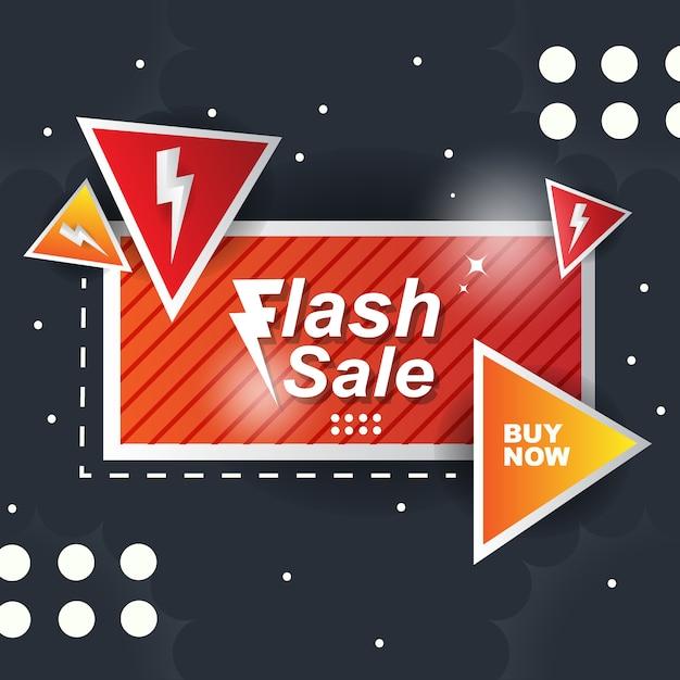 Orange banner background abstract flash sale Premium Vector