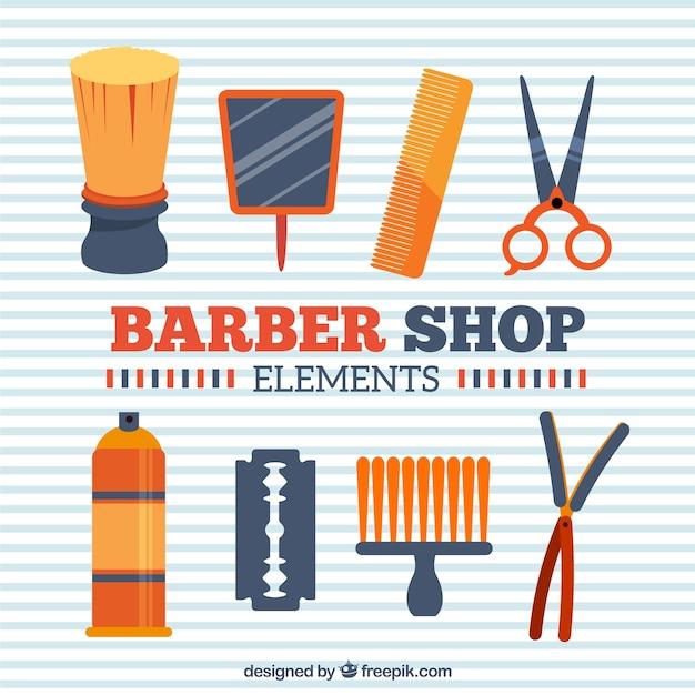 Orange barber shop elements Free Vector