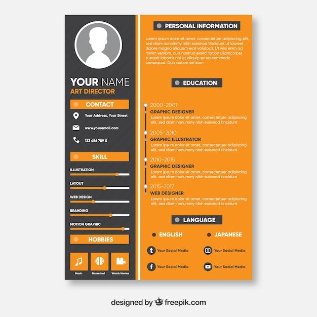 Orange and black resume concept Vector   Free Download