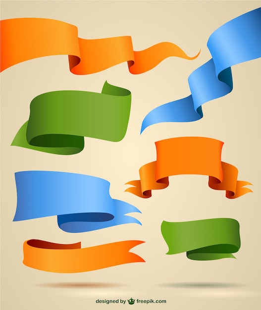 Orange, blue and green ribbons Free Vector