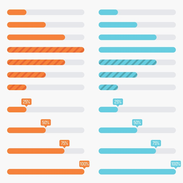Orange and blue preloaders and progress loading bars in modern flat style Premium Vector