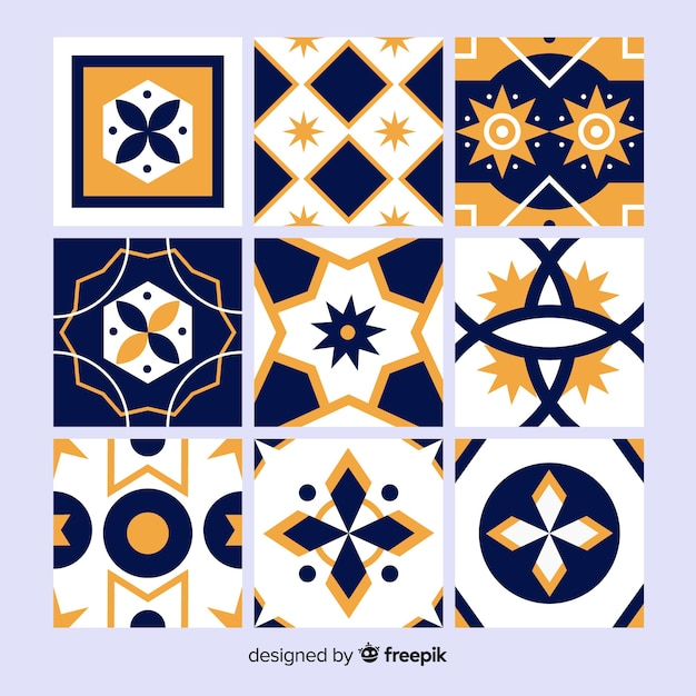 Orange and blue tile collection Free Vector