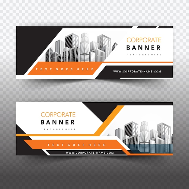 Orange business banner Free Vector