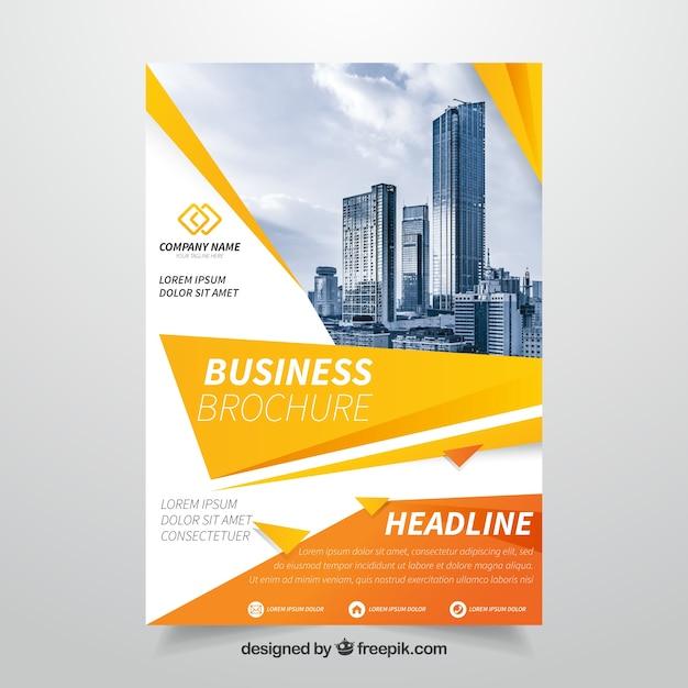 Orange business brochure Free Vector