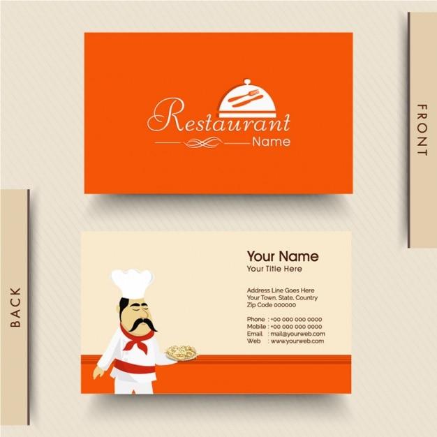 Orange business card for italian restaurant Premium Vector