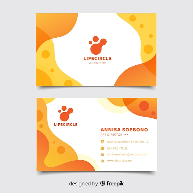Orange business card with abstract template Free Vector