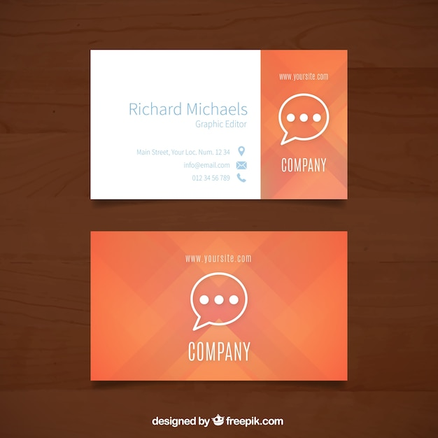 Orange business card with speech bubble vector free download orange business card with speech bubble free vector reheart Choice Image
