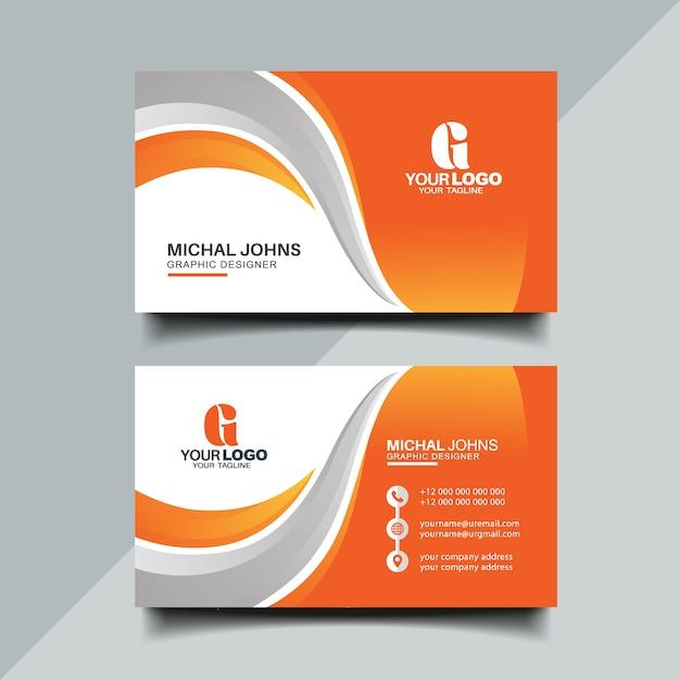 Orange business card Premium Vector