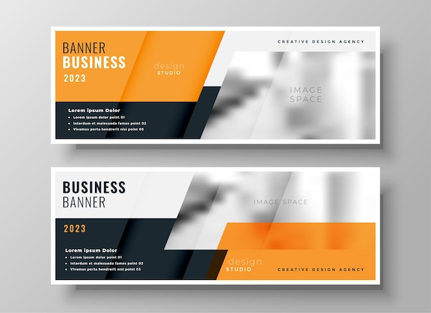 Orange business facebook cover or header set of two Free Vector