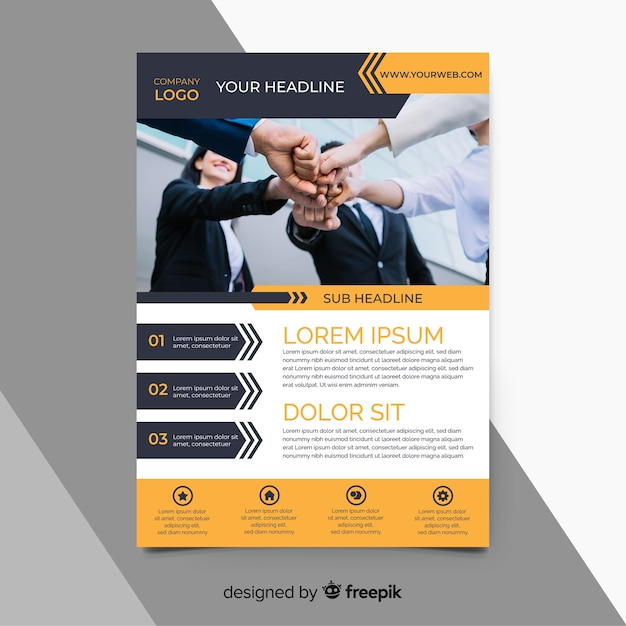 Orange business flyer template with photo Free Vector