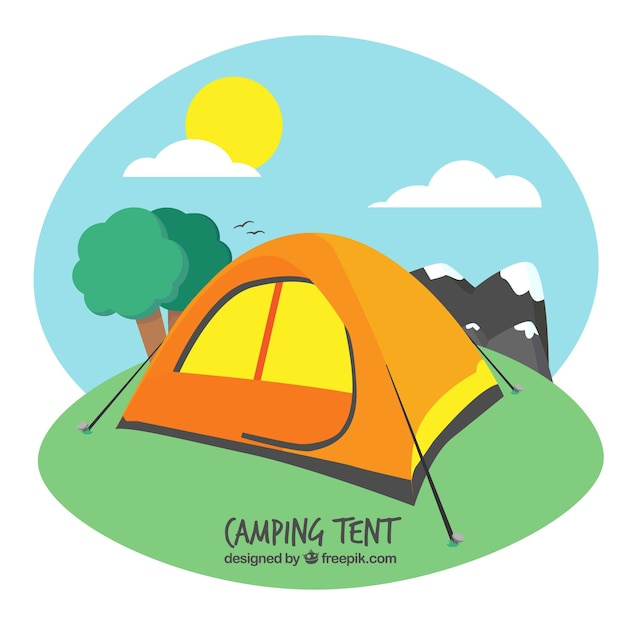 Orange camping tent in a landscape