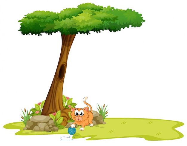 An orange cat playing under the tree Free Vector