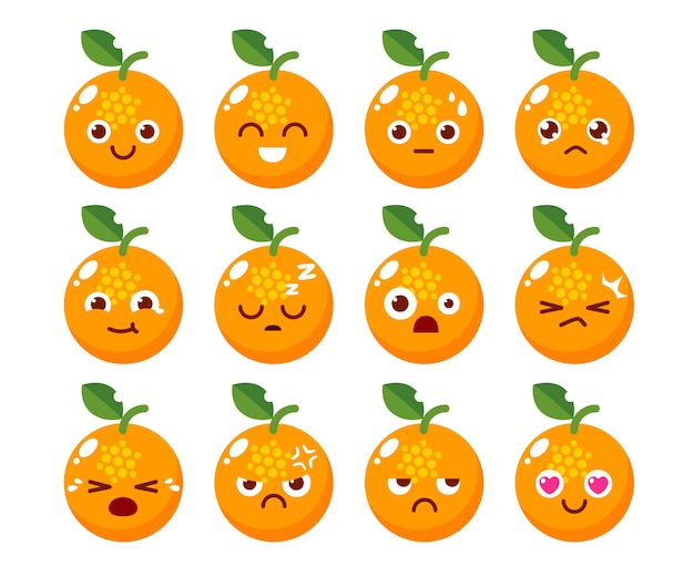 Character Design Emotions : Orange character design in various emotions vector