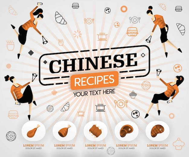 Orange chinese food and meat grilled recipes recipes Premium Vector