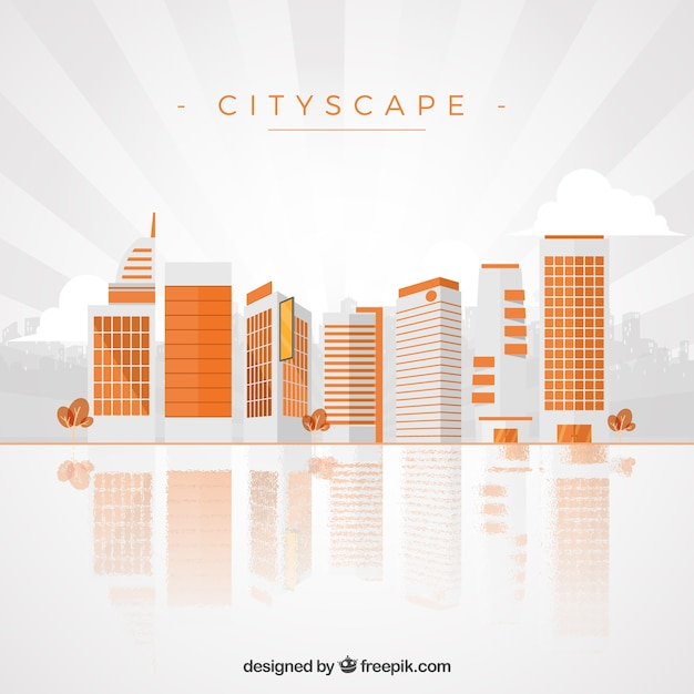 Orange cityscape background in modern\ style