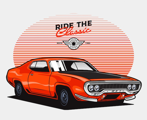 Orange classic car Premium Vector