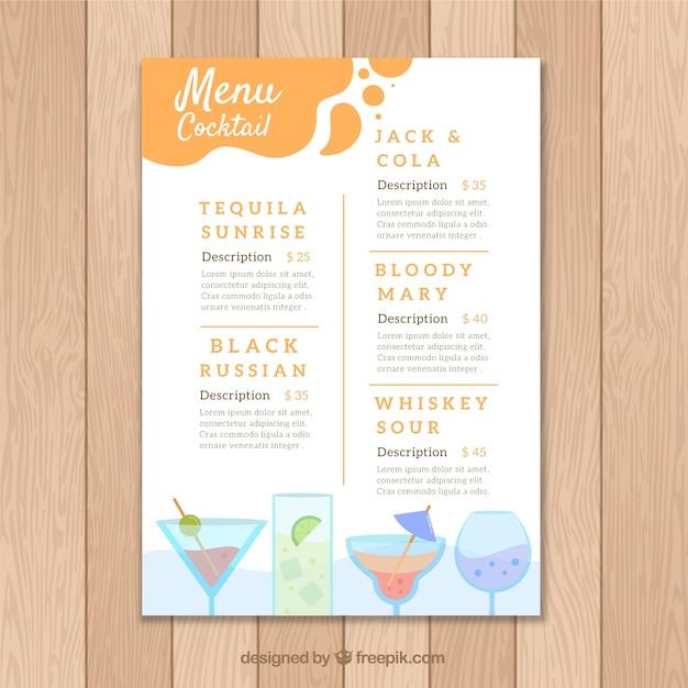 free cocktail menu template