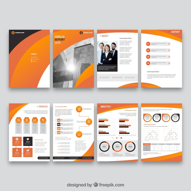 Orange collection of annual report cover templates Free Vector